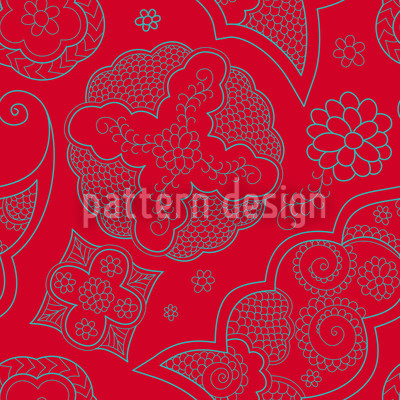 Henna Rosso Seamless Vector Pattern Design