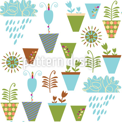 Flower Pots On The Balcony Seamless Pattern