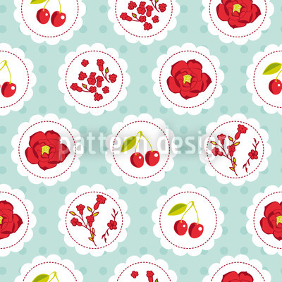 Grannys Cherry Garden Blue Design Pattern