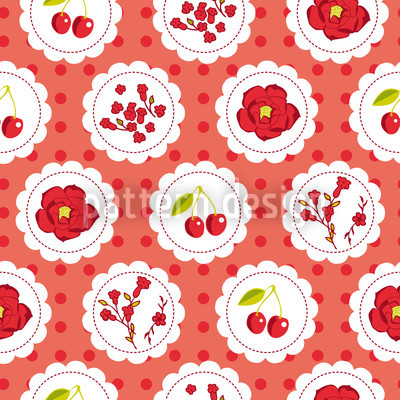 Grannys Cherry Garden Red Seamless Vector Pattern Design