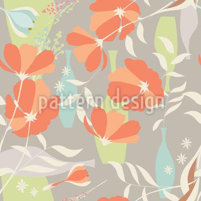 Vasen und Blumen Zweige Nahtloses Muster