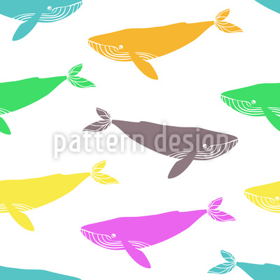 Pop Art Whales Repeating Pattern