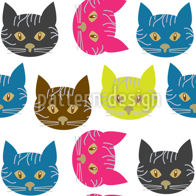 Pop-Art Katzen Nahtloses Vektormuster