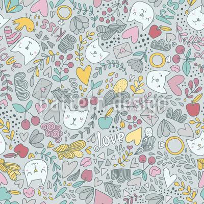 Valentins Katzen Nahtloses Muster