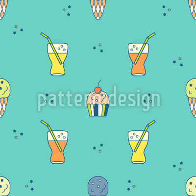 Ice Cream And Ice Tea Repeat Pattern
