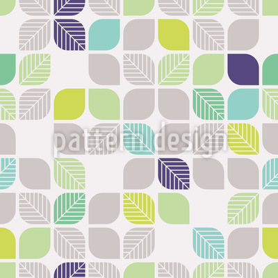 Geometric Leaves Vector Pattern