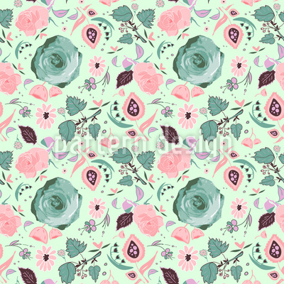 Romantische Blumen Nahtloses Vektor Muster