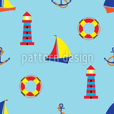 À beira-mar Design de padrão vetorial sem costura