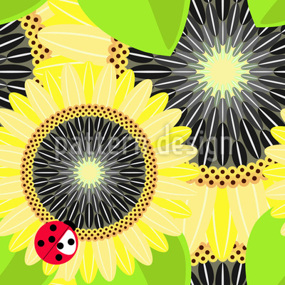 Sonnenblumen und Marienkäfer Rapportmuster
