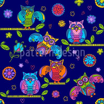 Modische Eulen in der Nacht Nahtloses Muster