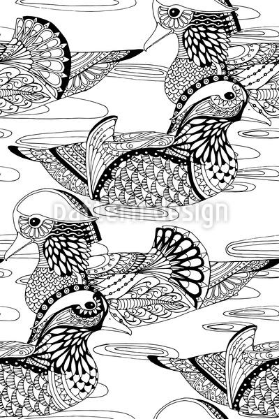Mandarin Ducks Seamless Vector Pattern