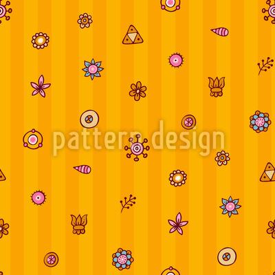 Blumen Auf Streifen Musterdesign