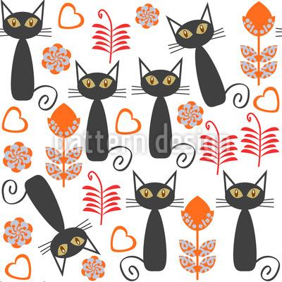 Katzen auf der Wiese Rapportiertes Design