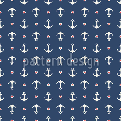 Anchors and Hearts Seamless Vector Pattern Design