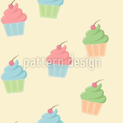 チェリーカップケーキ シームレスなベクトルパターン設計