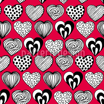 Funny Hearts Seamless Vector Pattern Design