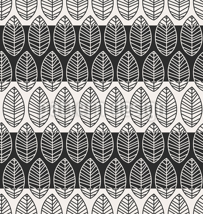 Blätter Auf Streifen Muster Design