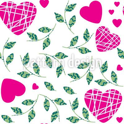 Herzen und Blätter Vektor Ornament