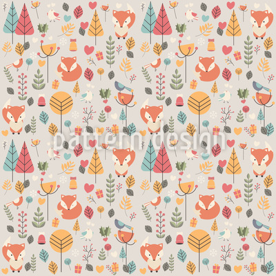Baby Fox Surrounded with Flowers Vector Design