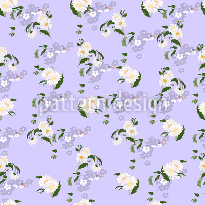 Sweet Daisy Forget Me Not Vector Pattern