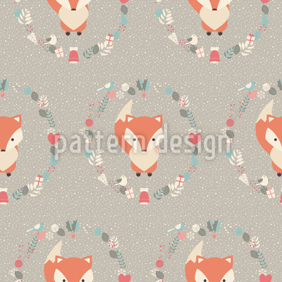 Christmas Baby Fox Seamless Vector Pattern Design