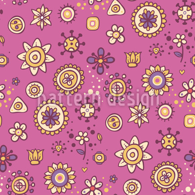 Scrapbook Flowers Seamless Vector Pattern