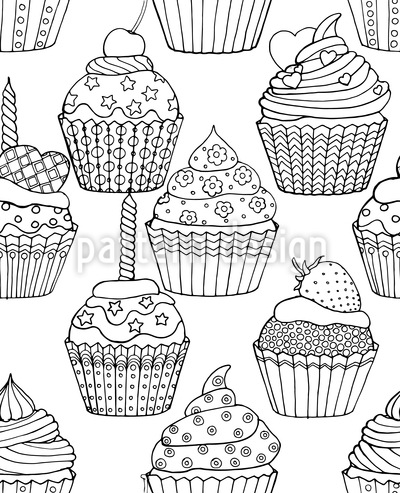 Sweet Decorated Cupcakes Seamless Vector Pattern Design