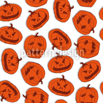 Pumpkin Heads White Pattern Design