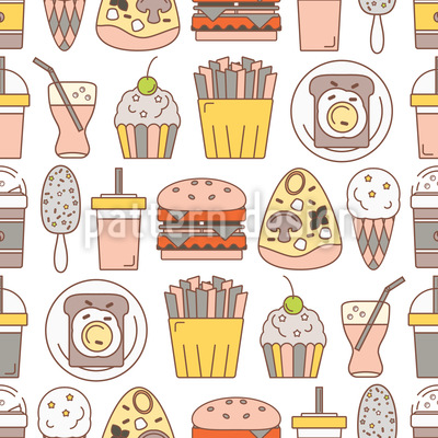 Fast Food Menü Nahtloses Vektor Muster
