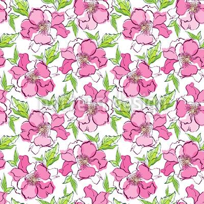 天然玫瑰 无缝矢量模式设计