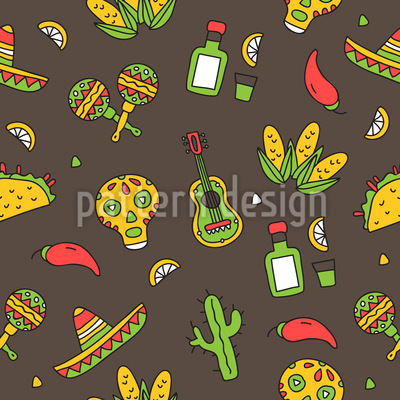 Mexican Party Seamless Vector Pattern Design