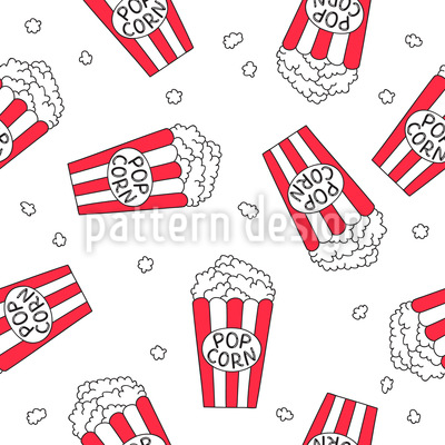 Popcorn Movie Night Seamless Pattern