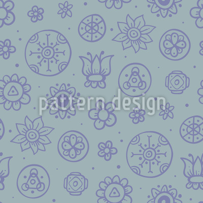 Concrete Flowers Seamless Vector Pattern