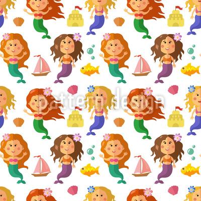 Little Mermaids Seamless Vector Pattern Design
