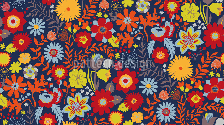 Florales Gemisch Rapportmuster