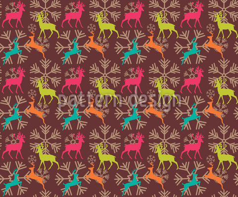 Reindeers and snow flakes Pattern Design