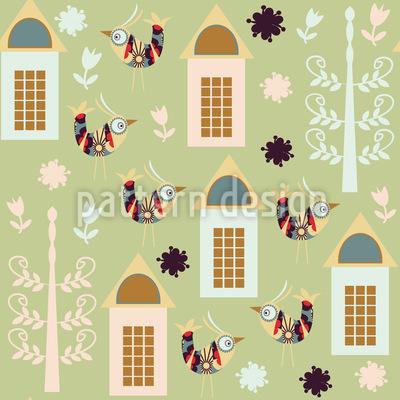 Vögel Im Frühling Designmuster