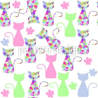 Mädchenhafte Katzen Vektor Ornament