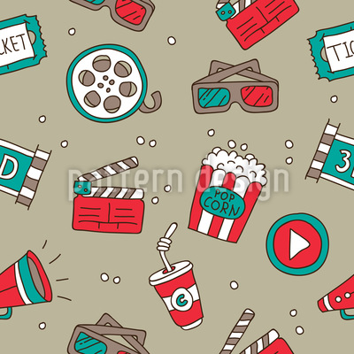 Movie Night Seamless Vector Pattern Design