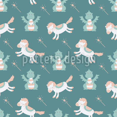 Horse and Dragon Seamless Vector Pattern Design