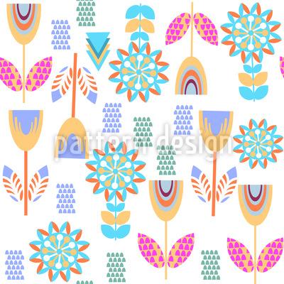verzierte Blumenwiese Rapportiertes Design