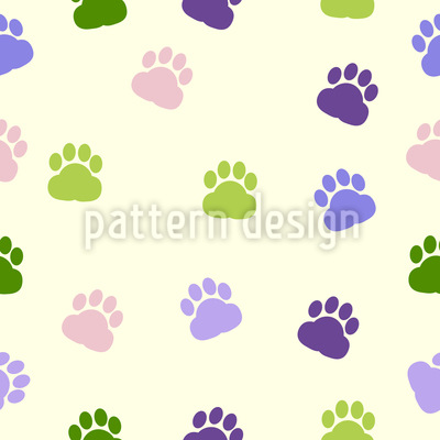 Dog Paw Seamless Vector Pattern