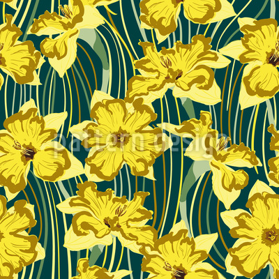 Narcissus And lines Repeating Pattern