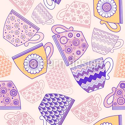 Tasse Kaffee oder Tee Nahtloses Muster