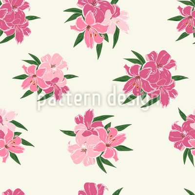 Beautiful Lilies Seamless Vector Pattern