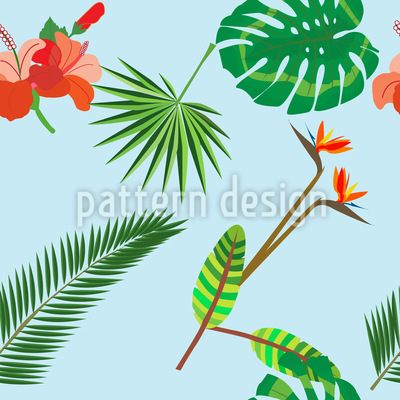 Tropische Pflanzen Nahtloses Vektormuster
