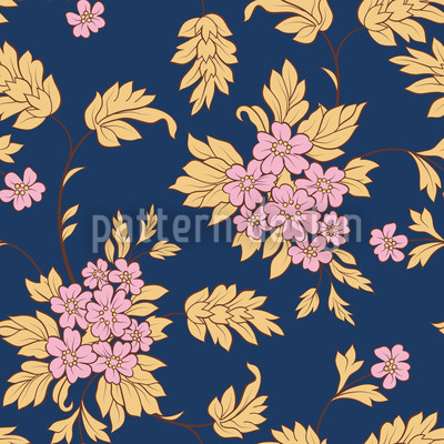 Darkblue Bouquet Seamless Vector Pattern Design