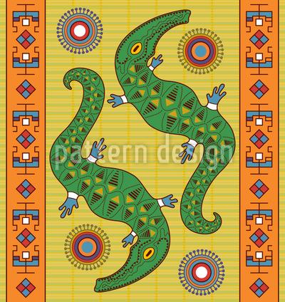 Krokodil Traum Nahtloses Vektormuster