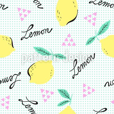 Hipster Lemons Seamless Vector Pattern Design