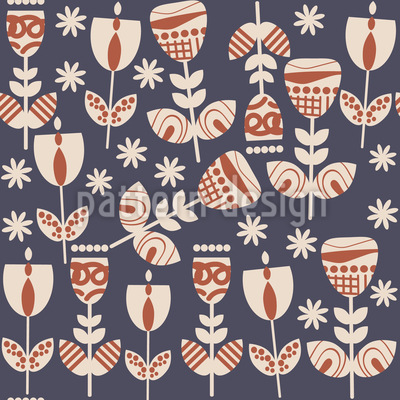 Russian Folklore Flowers Seamless Vector Pattern Design